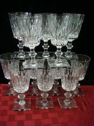 """Twelve HAWKES """"Mallory"""" Cut Crystal Water Goblets:"""