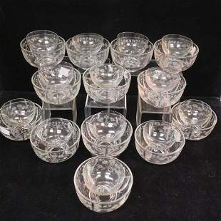 Fifteen Etched Shrimp Cocktail Ice Bowls, 13 Liners: