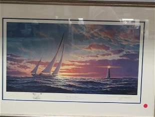 "JOHN BARBER Artist Proof, ""Red Sky at Night 43' 1937"":"