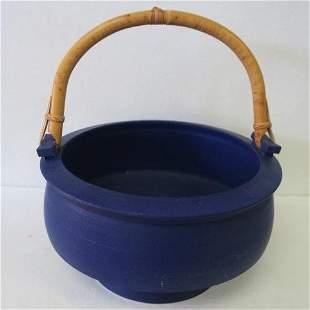 Cobalt Blue Hand Thrown Signed Cauldron: