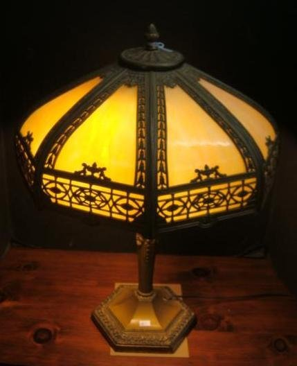 Amber Slag Glass Lamp: