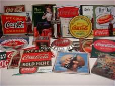 25 Pieces of Coca Cola Tray, Tin Signs & Wall Decor: