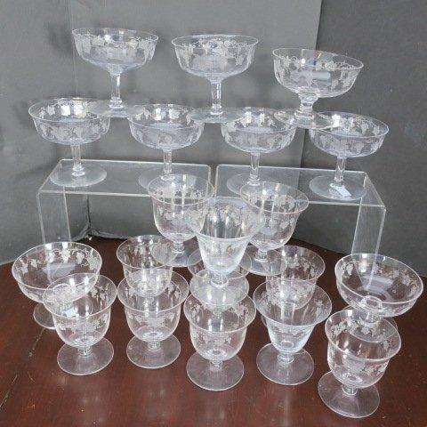 FOSTORIA Vintage Grapevine Etched Glassware 77 Pcs: