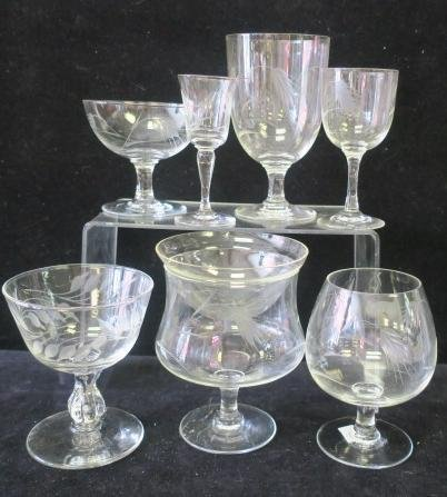 50 Pc. Etched Leaves Glass Barware Set: