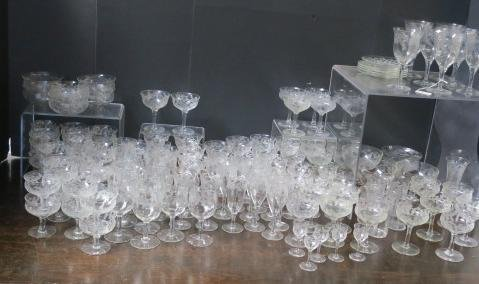 Large Collection of Etched Thistle Glassware, 129 Pc: