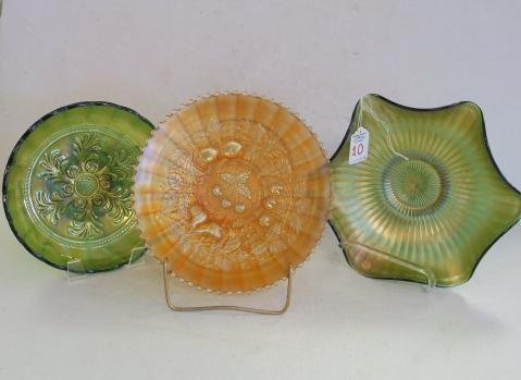 Three Pieces of Vintage Carnival Glass: