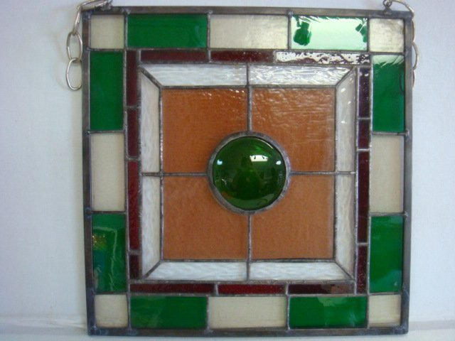 Copper Foil Hanging Leaded Stained Glass Panel: