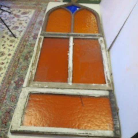 Stained Glass 3 Section Arched Window from WVA Church: