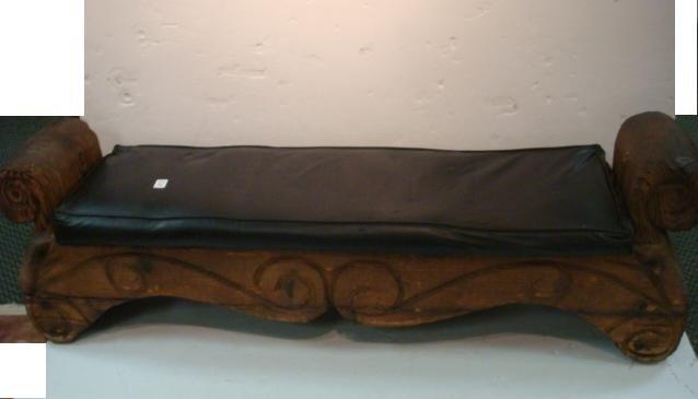 Primitive Hand Carved Upholstered Bench: