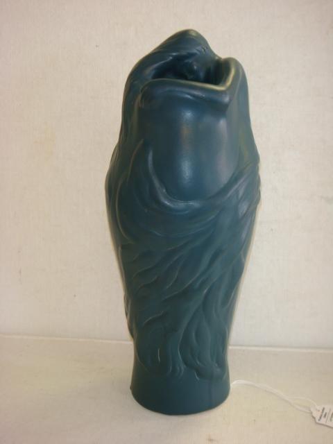 "VAN BRIGGLE ""LORELEI"" Vase, Matte Blue Green Glaze:"