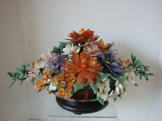 Jade & Semi Precious Stone Floral Bouquet, Cloisonné