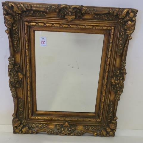 Beveled Mirror in Gilt Frame: