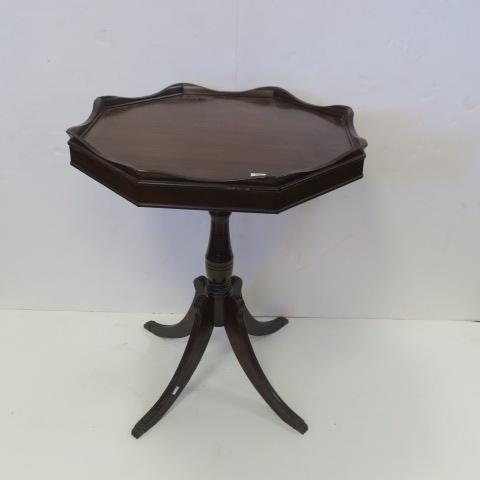 Mahogany Octagonal Pedestal Side Table: