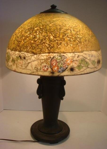RARE Signed HANDEL Chipped Ice Table Lamp