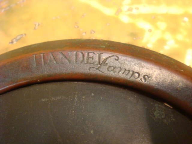 RARE Signed HANDEL Chipped Ice Table Lamp - 3