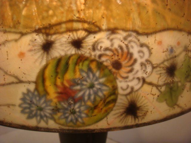 RARE Signed HANDEL Chipped Ice Table Lamp - 5