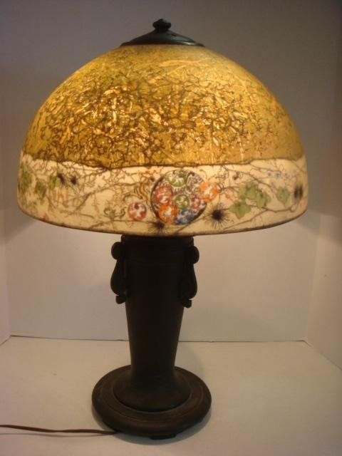 RARE Signed HANDEL Chipped Ice Table Lamp - 7