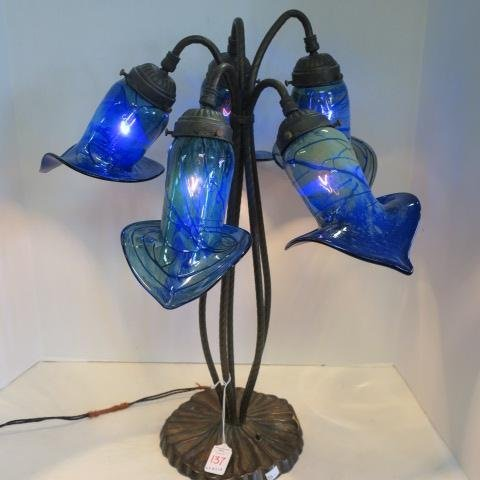 Art Nouveau Five Shade Blue Jack in the Pulpit Lamp: