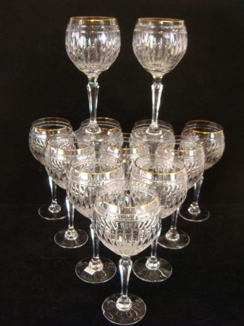 """12 WATERFORD """"Marquis"""" Hanover-Gold Balloon Wine Stems"""