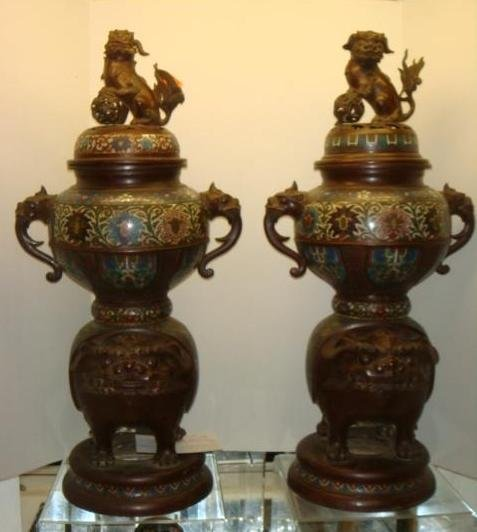 Two Champlevé Foo Dog-Lion Censers: