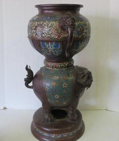 Two Champlevé Foo Dog-Lion Censers: - 2