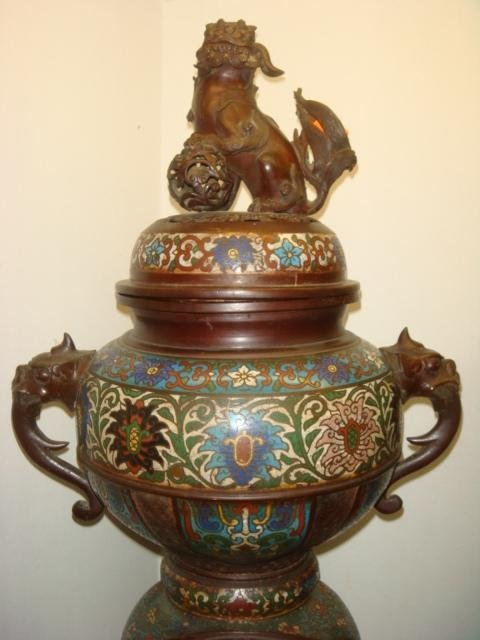 Two Champlevé Foo Dog-Lion Censers: - 4