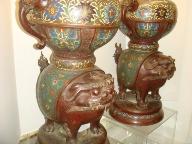 Two Champlevé Foo Dog-Lion Censers: - 5