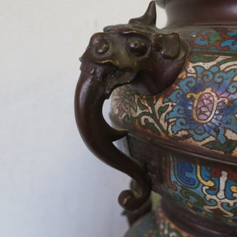 Two Champlevé Foo Dog-Lion Censers: - 6