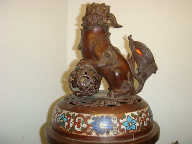 Two Champlevé Foo Dog-Lion Censers: - 8