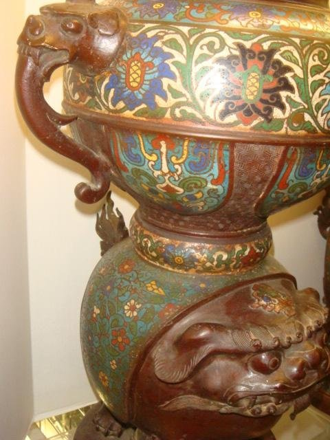 Two Champlevé Foo Dog-Lion Censers: - 9