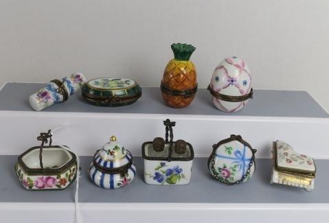Nine Assorted Limoges Trinket Boxes: