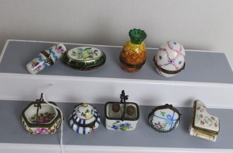 Nine Assorted Limoges Trinket Boxes: - 2