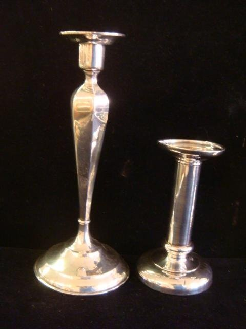 Two Pairs of Sterling Silver Candlesticks, More: - 4