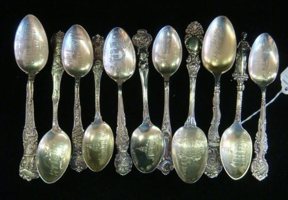 Eleven Vintage Sterling Silver Collector Spoons: