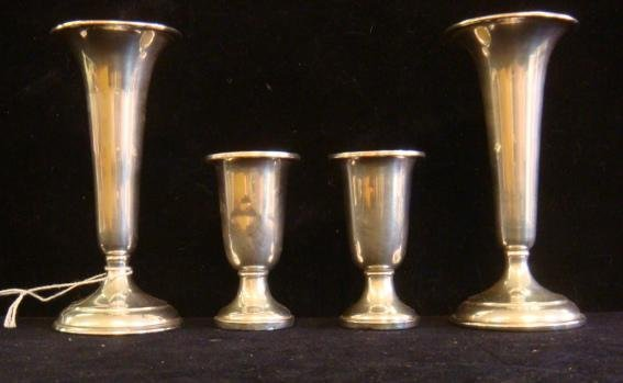 Pair of Sterling Silver Vases and Pair of Cordials: