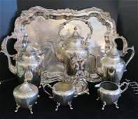 Silver on Copper 6 Pc CoffeeTea Set
