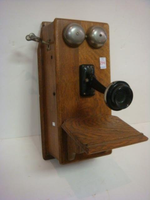 Vintage Tiger Oak Wall Phone: