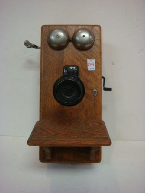 Vintage Tiger Oak Wall Phone: - 5