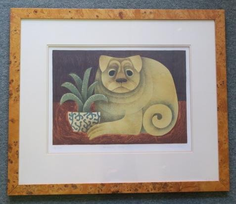 CAROL JABLONSKY Signed Lithograph, Chinese Dog: