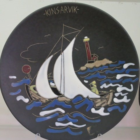 Two Enamel on Matte Black Wall Plaques from Norway: - 4