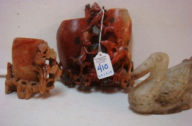 Carved Soapstone Monkey & Flower Vases and Duck: