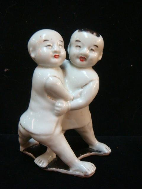 Ceramic Chinese Wrestling Boys with Wax Export Seal: