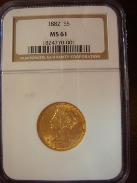 NGC Graded US 1882 $5 Gold Half Eagle, MS-61:
