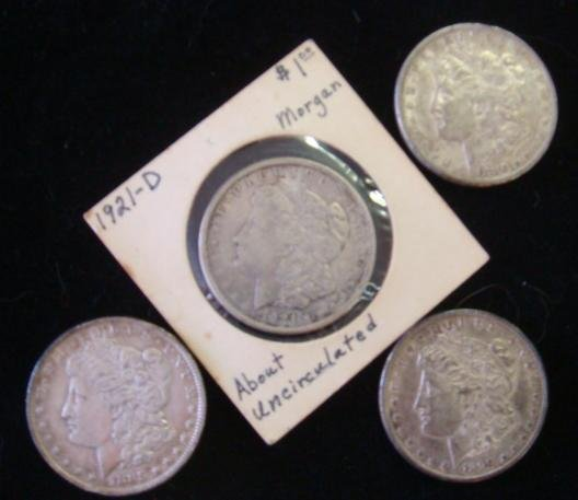 Four 90% Silver US Morgan Dollars: