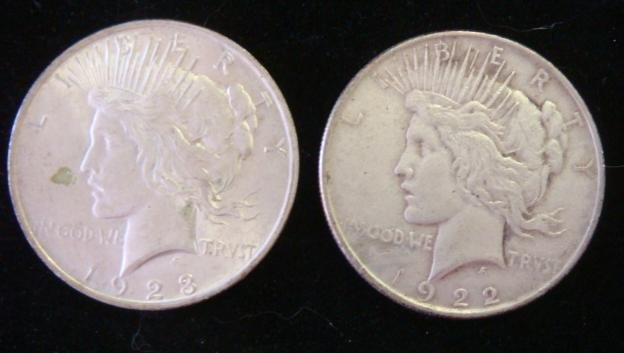 Two 90% Silver US Peace Dollars: