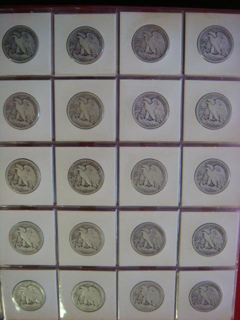 Twenty US WALKING LIBERTY Half Dollars 1920-1940: - 3