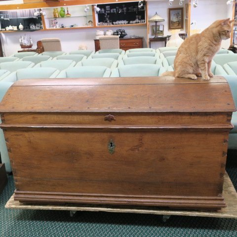 Large Antique Dome Top Oak Storage Trunk: