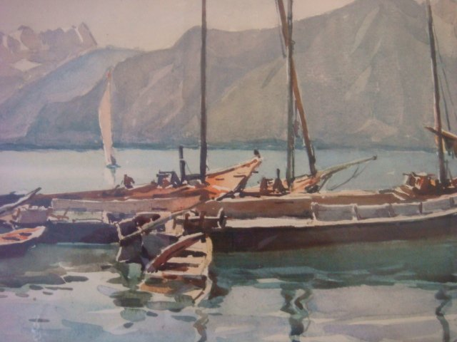 Watercolor Waterscape with Sailboats Signed MARS: - 2
