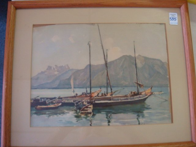 Watercolor Waterscape with Sailboats Signed MARS: - 4
