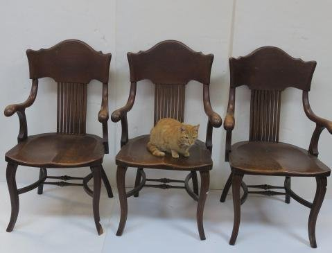 Three Oak Arm Chairs with Curved Back Splats: